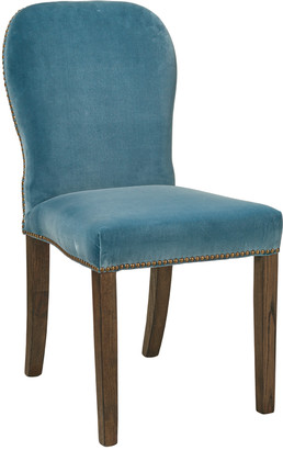 OKA Stafford Velvet Dining Chair - Air Force Blue