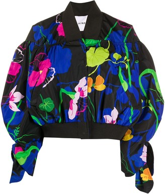 Ainea Oversized Floral Print Bomber Jacket
