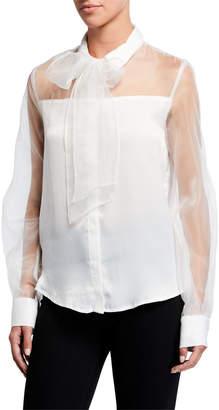 Endless Rose Sheer Button-Down Blouse w/ Bow-Tie Sash