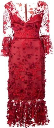 Marchesa 3/4 Sleeve Embroidered Midi Dress