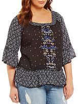 Democracy Plus Smocked Neck Off-The-Shoulder 3/4 Sleeve Top