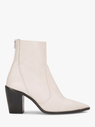 Mint Velvet Amy Leather Pointed Toe Boots, White