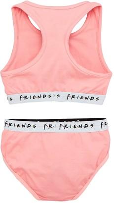 Girls Friends Crop Top & Briefs - Pink