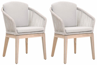 One Kings Lane Set of 2 Florin Outdoor Side Chairs - Taupe