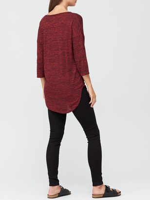 Very Snit V-Neck Slouchy Tunic - Red