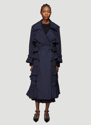 Valentino Ruffle Coat in Navy