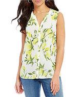 NYDJ Summer Citrus Soliel Print Sleeveless Pintuck Blouse
