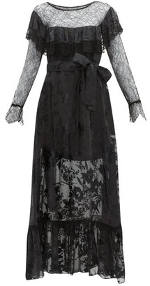 Preen by Thornton Bregazzi Eliane Lace & Devore Floral Chiffon Dress - Black
