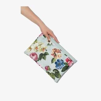 Dolce & Gabbana Womens Blue Floral Print Clutch