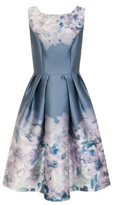 Dorothy Perkins Womens Chi Chi London Blue Floral Print Midi Skater Dress, Blue