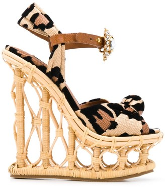 Dolce & Gabbana Leopard Print Bejewelled Wedge Sandals