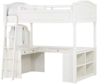 Pottery Barn Teen Chelsea Vanity Loft Bed, Full, Simply White