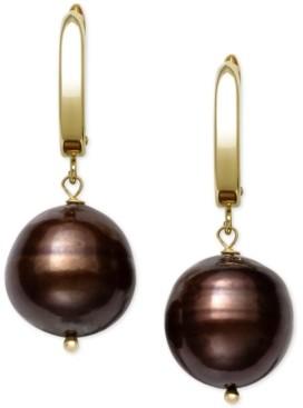 Belle de Mer Cultured Dyed Tahitian Pearl (8-10mm) Drop Earrings in 14k Gold