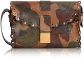 Furla Amazzone Chocolate Camouflage Leather Mini Crossbody Bag