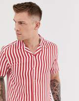 Only & Sons red stripe revere collar shirt in regular fit