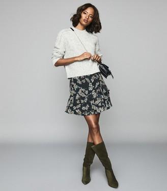 Reiss LYON Printed Mini Skirt Navy
