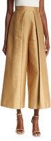 SOLACE London Aria Cropped Satin Twill Wide-Leg Trousers, Tan