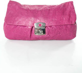 Marc by Marc Jacobs Pink Leather Silver Tone Fold Over Clutch Handbag In Dustbag