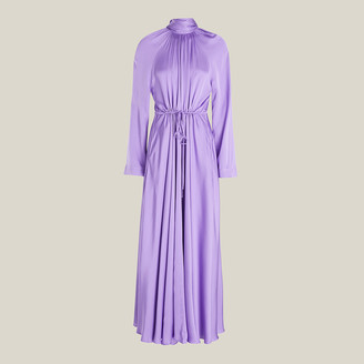 SOLACE London Purple Akan Ruched Satin Maxi Dress UK 8