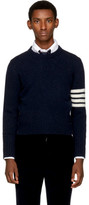 Thom Browne Navy Classic Four Bar Crewneck Pullover