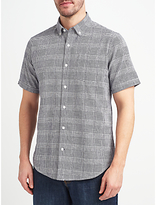 John Lewis Lincot Smarter Check Short Sleeve Shirt, Navy