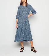 New Look Spot 1/2 Sleeve Smock Midi Dress