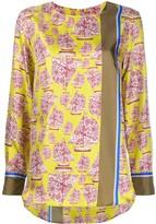 Odeeh silk boat print blouse