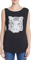 Haute Hippie Tiger Face Graphic Tank
