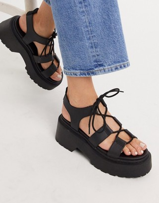 Topshop chunky sandals in black