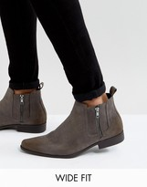 Asos Wide Fit Chelsea Boots In Grey Faux Suede With Zips