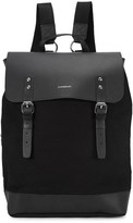 Sandqvist Black Leather And Canvas Backpack