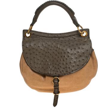 Miu Miu Beige/Green Ostrich and Leather Top Handle Bag