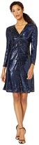 Tahari ASL Long Sleeve Stretch Sequin Twist Front Cocktail Dress (Navy Rose Sequin) Women's Dress