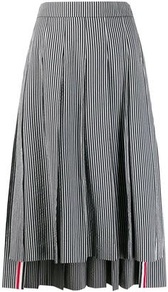 Thom Browne Stripe-Print Pleated Skirt