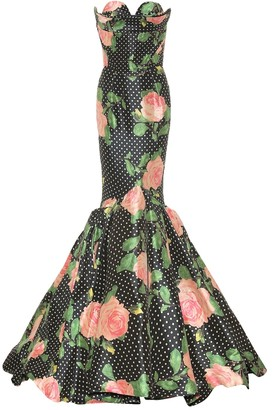 Richard Quinn Floral satin gown