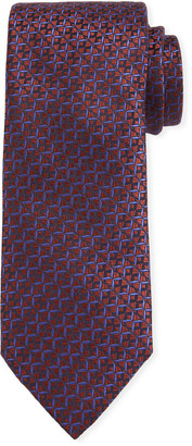 Canali Men's Cross Silk Tie, Rust