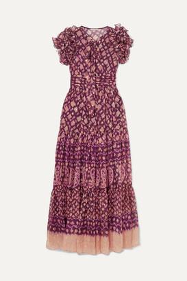 Ulla Johnson Umbra Ruffled Fil Coupe Silk-blend Maxi Dress - Plum