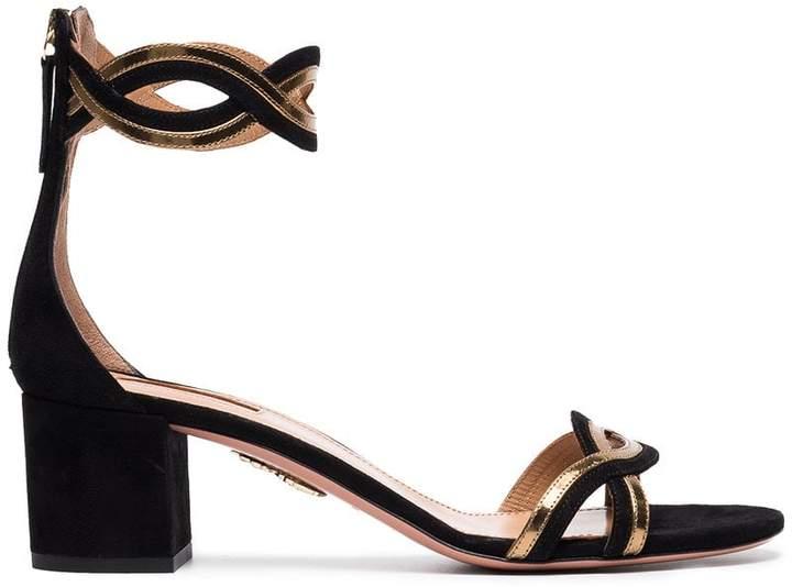 Aquazzura Black moon ray 50 suede sandals