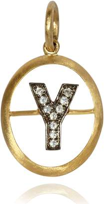 Annoushka Yellow Gold and Diamond Initial Y Pendant