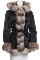 Sofia Cashmere Fox Fur-Trimmed Hooded Coat