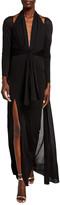 Tom Ford Cold-Shoulder Long-Sleeve Tie-Waist Halter Gown w/ Cape Back