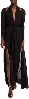 Tom Ford Cold-Shoulder Long-Sleeve Tie-Waist Halter Gown w/ Cape Back