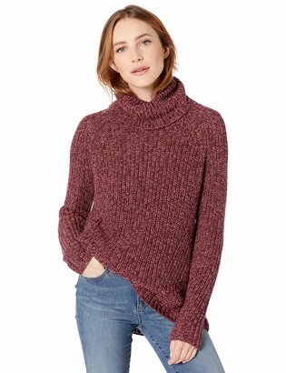 Goodthreads Amazon Brand Women's Cotton Half-Cardigan Stitch Turtleneck Sweater