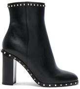 Valentino Leather Rockstud Trim Booties in Black.