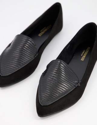 Accessorize pointed toe slipper ballet flats in black
