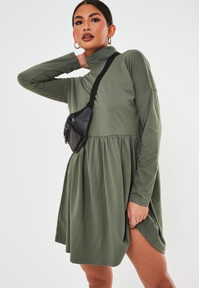 Missguided Khaki High Neck Jersey Smock Dress