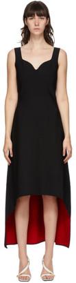 Alexander McQueen Black Sculptural Double Face Jersey Mid-Length Dress