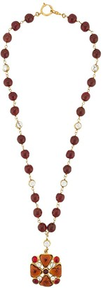 Chanel Pre Owned 1990s Stones Cross Beads Necklace