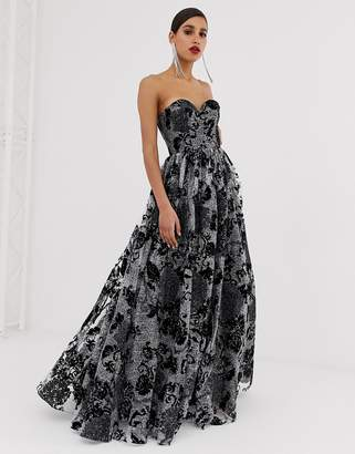 Bariano sweetheart bandeau ballgown in black jaquard