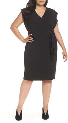 Eliza J Flutter Sleeve Belted Crepe Sheath Dress